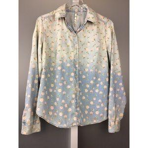💕 LC Lauren Conrad Floral Shirt rose ombré denim